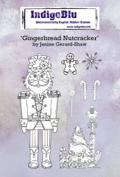 Gingerbread Nutcracker A6 Red Rubber Stamp by Janine Gerard-Shaw